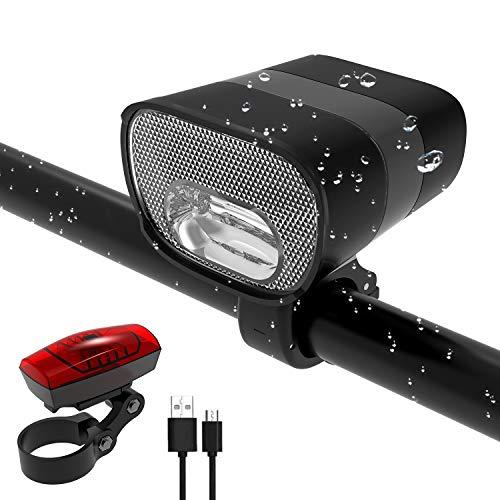 Fahrradlicht USB Led Set, Fahrrad Licht Led USB, STVZO Fahrradlicht Vorne USB Farradbeleuchtung Aufladbar Wasserdicht Fahrradlampe Mit Akku Frontlicht Und Rücklicht IP3X (Mit USB Kabel)