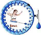 Weighted Hula Smart Hoops, Non-Dropping Detachable Hoola ,24 Detachable Knots Adjustable Length 2 in 1 Abdomen Fitness Massage Weighted Fitness Circle,Weight Loss Exercise for Adults and Kids (azul)
