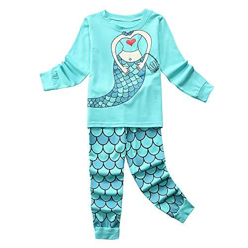 Pijama Niña, Conjunto Pijamas Niñas con Pantalón y Camiseta, Ropa Niña de Dormir 100% Algodón, Regalos para Niñas y Adolescentes Edad 2 a 11 Años(Sirena/Azul,4-5 años)