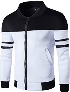WUAI Clearance Men's Casual Jackets Outdoors Patchwork Slim Fit Sports Running Fashion Outwear Motorcycle Coat