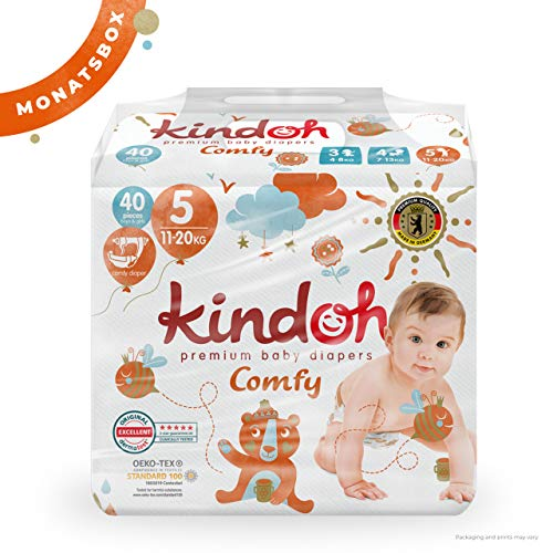 Kindoh Comfy Windeln Junior - MONATSBOX - 120 Stück (Größe 5)