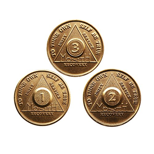 AA Alcoholics Anonymous Medallion Set 30 60 90 Days 1 2 3 Month Bronze Months Chips Coins