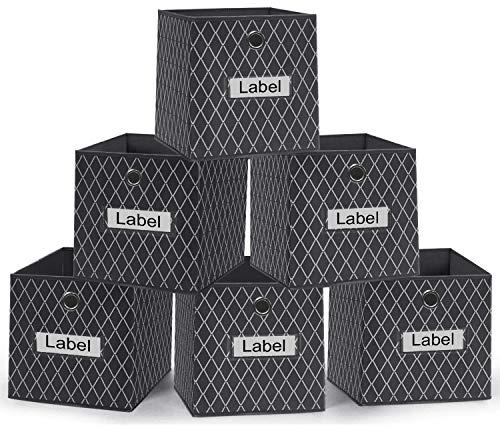VERONLY Aufbewahrungsbox Kallax Einsatz Stoff, Boxen Aufbewahrung Aufbewahrungswürfel Körbe Kiste Faltbox mit Etikettenkarte,für Kallax Regal,Spielzeug, Kleidung, Grau-26X26X28cm