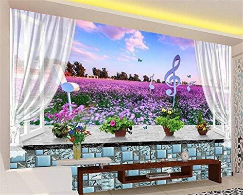 Fotobehang 3D Mural Wallpaper Vensterbank Lavendel Bloemen 3D Hd Behang voor Muren 3 D Mural Wall Achtergrond Moderne Mode Persoonlijkheid Behang 400 cm.