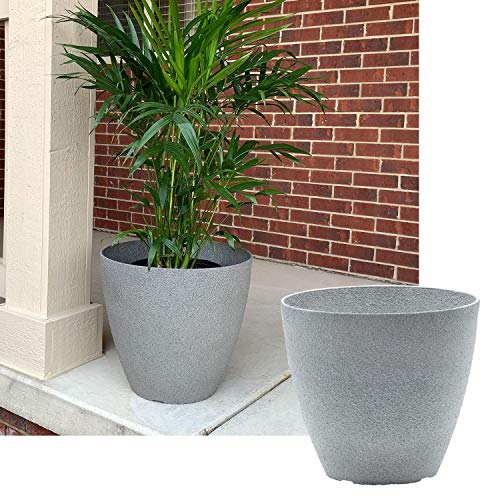 15-in. Round Faux Stone Resin Garden Potted Planter Flower Pot Indoor Outdoor, Grey