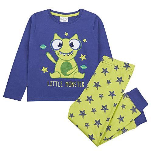 Minikidz Jungen Schlafanzug-Set Little Monster Dinosaurier Hai, langärmlig, 100% Baumwolle, 2-teilig Gr. 5-6 Jahre, blau