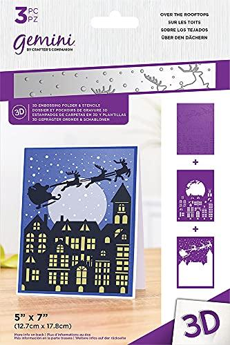 Gemini Christmas 3D goffratura cartella & stencil set - sopra i tetti