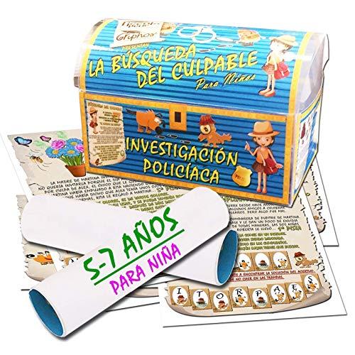 Búsqueda del tesoro en forma de investigación policíaca – para niña 5-7 años - para fiestas de cumpleaños – juegos para niños