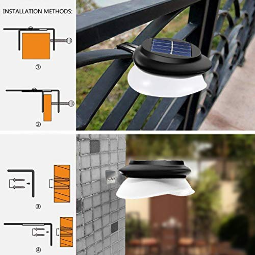 LED Gutter Lights Outdoor,SMY Upgrade Solar Gutter Lights with Adjustable Bracket, IP55 Waterproof Solar Fence Lights for Patio, Garden, Wall, Yard, Attic, Walkway (6pack, Pure White)