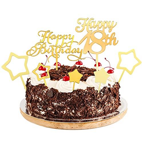 Cake Topper 18 Años Decoración Acrílica Dorada con Dieciocho Estrellas para Tartas (2 Piezas de Feliz Cumpleaños + 5 Piezas de Inserciones de Estrellas)
