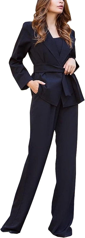 Women's 2 Piece Slim Fit Suits Set for Business Office Lady Blazer Jacket Pants