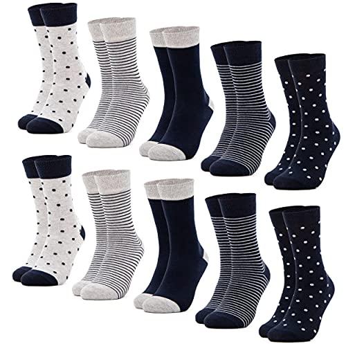 Occulto 10 Paar Damen Socken aus Baumwolle Punkte & Streifen Baumwollsocken Sneakersocken (39-42, Blau)