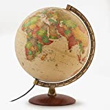 "Waypoint Geographic Light Up Globe - Como 12"" Desk Decorative Illuminated Antique Ocean Style with Stand, up to Date World Globe"