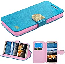 Insten Stand Folio Flip Glitter Leather [Card Slot] Wallet Flap Pouch Case Cover with Diamond Compatible with HTC One M9, Blue/Gold