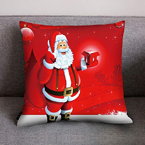 Merry Christmas Print Pillow Case Polyester Sofa Car Cushion Cover Home Decor, Polyester Pillowcase 45 * 45cm, D
