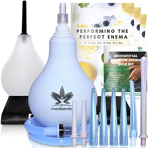 Medisential Enema Bulb Kit – Large 12oz (375ml) + 7oz (207ml) Anal Douche for Women and Men - A Premium Silicone Enema Kit That is BPA & Phthalates Free - Full Instructions and Guide Included.