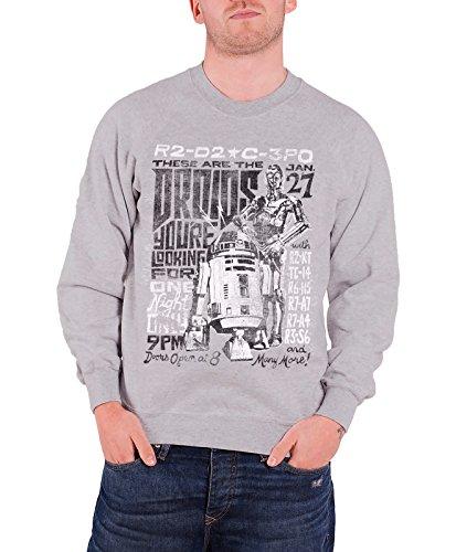 STAR WARS Officiellement Marchandises sous Licence Droids Night Sweatshirt (Gris), Large
