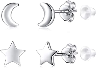 2 Pair Sterling Silver Stud Earrings Cross Circle(XO); Moon Star; Two & Three Bead Ball for Teenager Girls Women Men