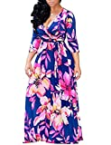 Locryz Women Floral Maxi Dress 3/4 Sleeve V Neck Bohomain Floral Party Dresses