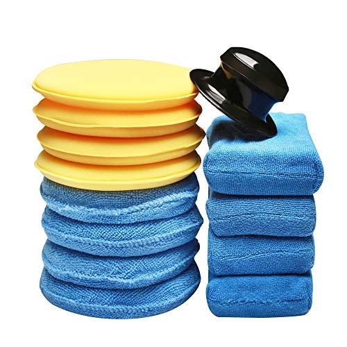 SPTA 13Pcs Handpolierschwamm Auto Polierschwamm Reinigungswachs Schwamm Mikrofaser Wachs Applikator Reinigungspad Zum Reinigen von Autos Fahrzeug, Glas (blau, gelb)