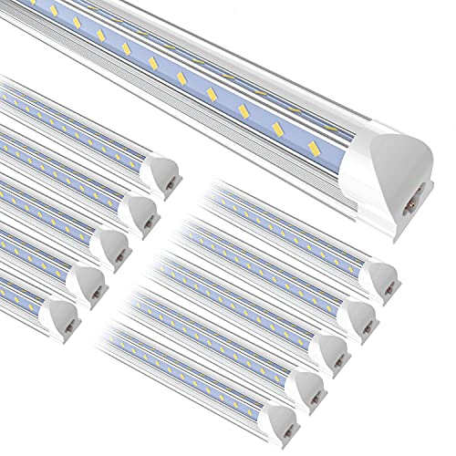 SHOPLED 8FT LED Shop Light, 95W 12350LM, 5000K Daylight, T8 LED Tube Light Fixture, V Shape, High Output, Lamp Bulbs for Garage, Workshop, Warehouse, Plug and Play with Switch Cords (Pack of 10)
