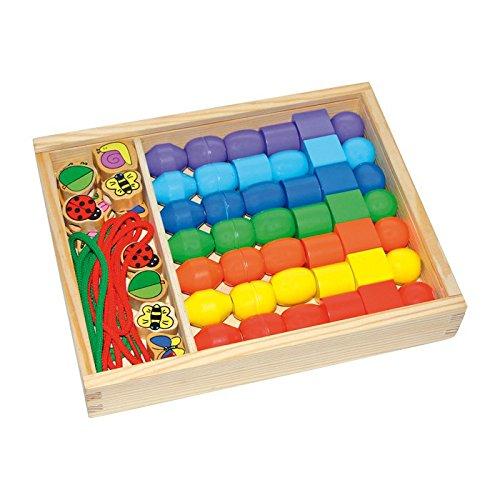 Small Foot 2402 Boîte de Perles Perles Jumbo en Bois coloré et Verni, kit de Bricolage créatif, kit de Perles à partir de 3 Ans