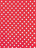 Polycotton-Stoff, gepunktet, Meterware, 112 cm breit, Rot