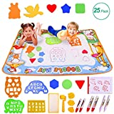 Miserwe Large Water Writing Mat Drawing Mat Neon Colors Board, with 25 Pack Drawing Accessories for Kids Toys Toddlers Educational Girls Boys Size 39.3' X 27.5'