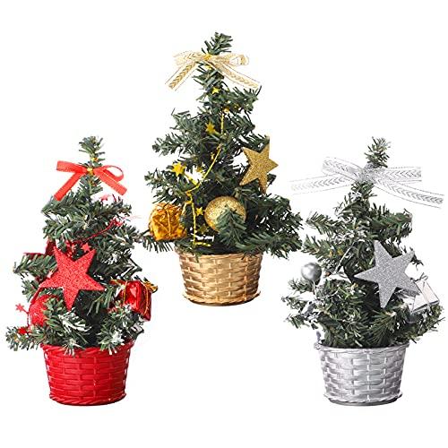 Mini albero di Natale artificiale da 3 pezzi con ornamenti,albero di Natale da tavolo da 20 cm,albero di Natale piccolo da 8 pollici Mini alberi di Natale da tavolo Decorazione per la casa di Natale