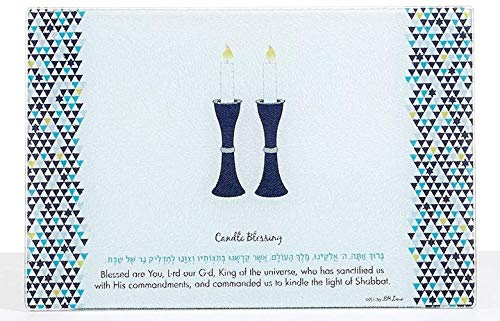 Rite Lite Tempered Glass Shabbat Candles Blessing Drip Tray Blue and White