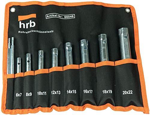 HRB Rohrsteckschlüsselsatz 10-tlg. Größen 6-22 mm, Schraubenschlüssel Satz in bequemer Tetron Rolltasche, ideales Langnuss Set für Arbeiten am Wasserhahn