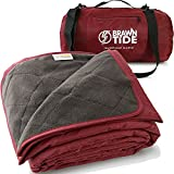 Brawntide Large Outdoor Waterproof Blanket - Quilted, Extra Thick Fleece, Warm, Windproof, Ideal Stadium Blanket, Camping Blanket, Beach Blanket, Picnic Blanket, Festivals, Parks, Pets, Dogs (Wine)