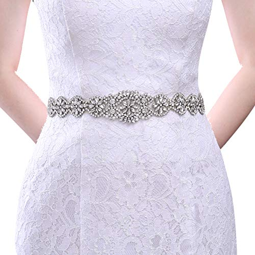 TOPQUEEN Cinturón de satén con cristales brillantes para boda, fiesta, vestido de dama de honor Blanco Talla única