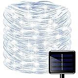 Oluote Luces de Cuerda Solar, Impermeable al Aire Libre 100 LED 33 FT/10 M 8 Modos, Luces de hadas, Tubo de Luz de PVC para La Fiesta de Boda del Arbol de la Cerca del Jardín (Blanco, 10M)