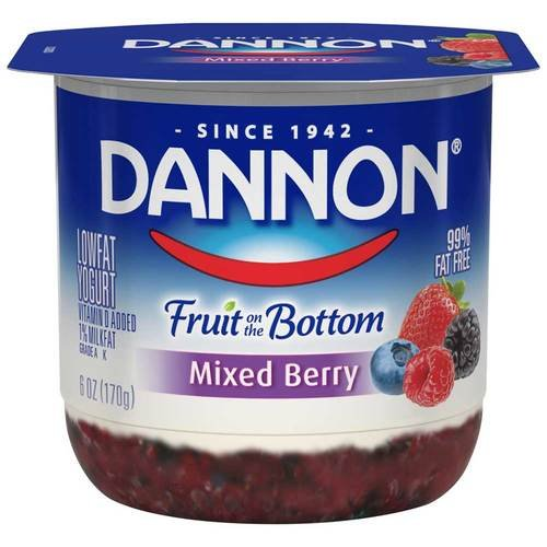 Dannon Fruit on the Bottom Mixed Berry Yogurt, 6 Ounce -- 12 per case.