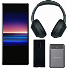 "Sony Xperia 1 Unlocked Smartphone 6.5"" 4K HDR OLED, 128GB - Black - (US Warranty) WH-1000XM3 Wireless Noise-Canceling Headphones, Protective Soft Shell (Clear), and Ultra Portable Power Bank (4 Items)"