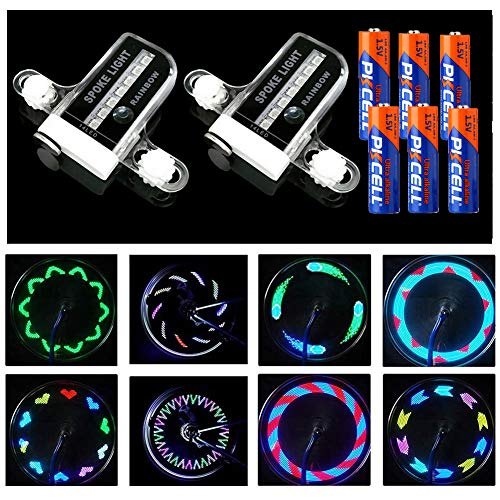 Xyemao 2 Pack LED Bike Spoke Lights (Include Battery) - Waterproof Cool Bike Wheel Lights for Bicycle, Auto & Manual Dual Switch, 14 LED Light 30 Pattern, Extra 4 x AAA Batteries