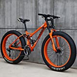26 Pulgadas Bicicletas de Montaña, 24 Velocidades Bicicleta MTB Bikes de Fat Tire para Adultos, Marco de Acero de Alto Carbono Doble Suspensión Completa Doble Freno de Disco