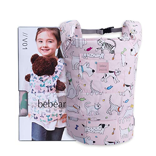 Bebamour Baby Doll Carrier for Kids Front and Back Carrier Original Cotton Baby Carrier for Doll for Boys & Girls (Pink Dog)