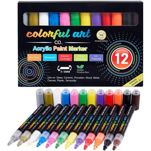 Colorful Art Co. Acrylic Paint Pens – Permanent, Waterproof Pen 12 Pack w/ Reversible 3-5mm Brush Tips – Painting Markers for Rocks, Wood, Glass, Ceramic & Stone - Craft Supplies