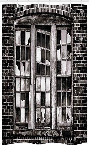 ABAKUHAUS industrieel Douchegordijn, Gebroken raam, voor Douchecabine Stoffen Badkamer Decoratie Set met Ophangringen, 120 x 180 cm, Charcoal Grey Pale Grey
