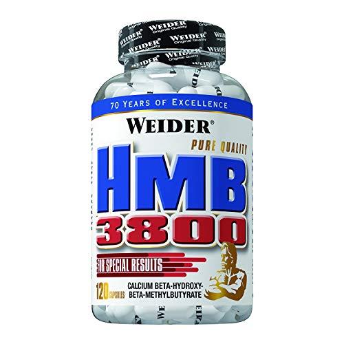 Weider HMB 3800 - 120 caps. Aporta 3.800 mg de Hidroxy-Metil-Butirato Cálcico. Reduce el catabolismo y el daño muscular