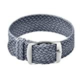 Ullchro Nylon Watch Strap Replacement Perlon Braided Woven Watch Band NATO Men Women - 14mm, 16mm, 18mm, 20mm, 22mm Watch Bracelet with Stainless Steel Silver Buckle (14mm, Gray)