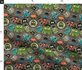 vintage halloween fabric - Spoonflower Fabric - Little Monsters Vintage Halloween Cute Bats Spooky Kid Party Decor Printed on Petal Signature Cotton Fabric by The Yard - Sewing Quilting Apparel Crafts Decor