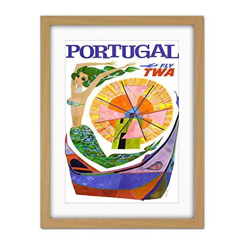 Wee Blue Coo Portugal Travel TWA Airline Windmill Mermaid Artwork Framed Wall Art Print 18X24 inch Le Portugal Voyage Compagnie aérienne Sirène Mur