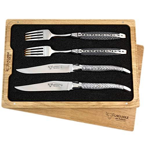 LAGUIOLE en Aubrac Premium Steakbesteck geschmiedet Set 2 Steakmesser und 2 Steakgabeln Texalium