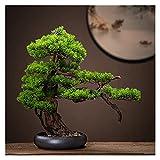 Bonsai Plant 18 pulgadas Árbol de bonsái artificial, decoración de plástico de la planta de imitación, árbol falso para la decoración del jardín zen (con cepillo de limpieza) Fake Plant Decoration Pla