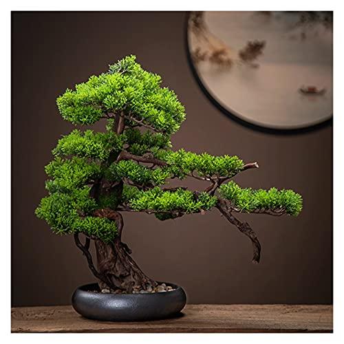 Kunstplanten Voor Interieur Binnenshuis 18 inches kunstmatige bonsai boom, plastic faux plant decoratie, nep boom voor Zen tuin inrichting (met reinigingsborstel) Kunstplanten Bonsaiboom