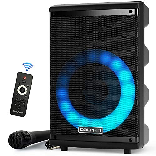 Dolphin 8'' Portable Bluetooth Speaker with Woofer & Tweeter - Sound Activated Lights - Wireless Karaoke Function - 7 Hour Battery Life - Party Speaker SP-807RBT