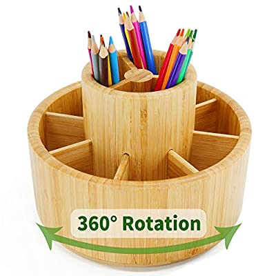 Bamboo Rotating Art Supply Desk Organizer,Pencil Holder Organizer, Desktop Storage Caddy for Pen,Colored Pencil,Crayon,Paint Brushes,360 Degree Spinning,Works in Classroom,Art Studio&Office